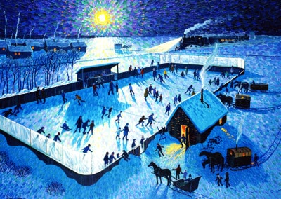 Skating Rink by Moonlight by Bill Brownridge