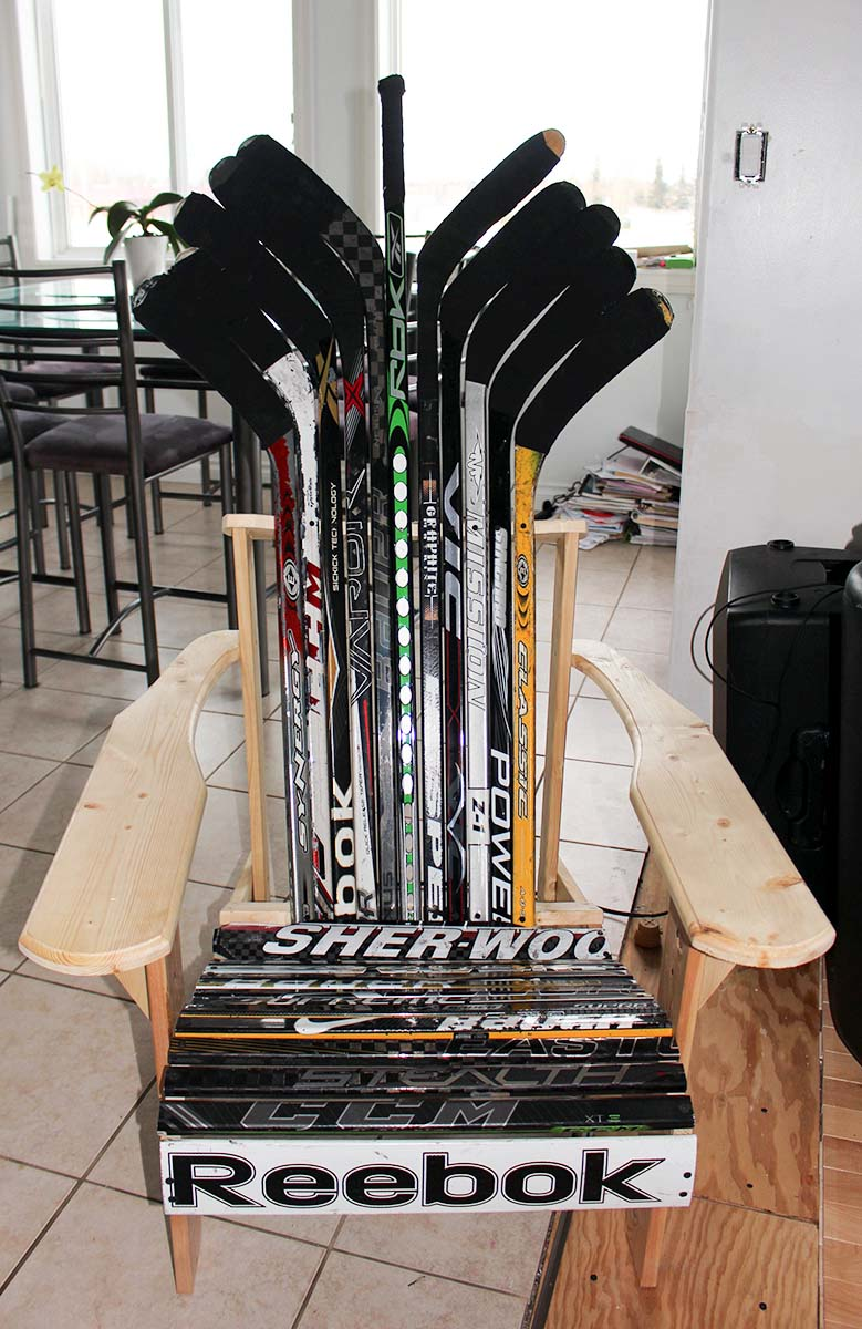 Peyton's hockey-stick deck chairs provide him a 'building' hobby and helps raise money for his rehab facility and a little for himself.