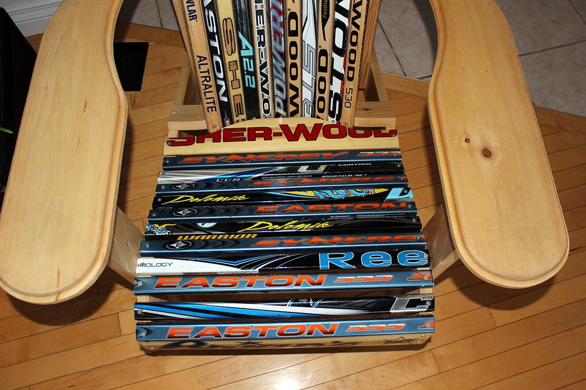 With the new colourful hockey sticks, Peyton's chairs, which he helps make by hand, turn out to be quite an eye-catcher.  He uses old broken sticks as material.